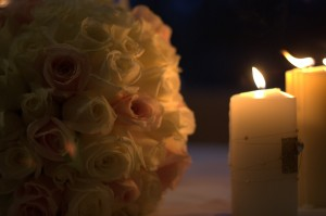Wedding candles and flower bouquet. Creative Commons: https://flic.kr/p/6R28r9