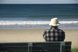 Person with back to camera sitting on a park bench on the beach looking out on waves